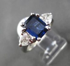 ESTATE 2.72CT DIAMOND & SAPPHIRE 18KT WHITE GOLD CLASSIC 3 STONE ENGAGEMENT RING