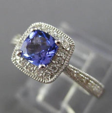 ESTATE .78CT DIAMOND & AAA TANZANITE 14KT WHITE GOLD 3D FILIGREE ENGAGEMENT RING