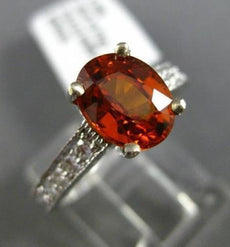 ESTATE 2.32CT DIAMOND & AAA CITRINE 18KT WHITE GOLD OVAL FILIGREE MILGRAIN RING