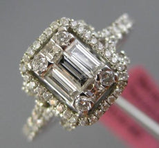 ESTATE .80CT ROUND & BAGUETTE 18K WHITE GOLD 3D RECTANGULAR HALO ENGAGEMENT RING