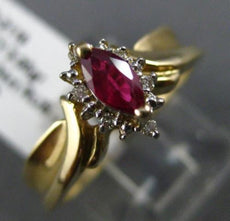 ESTATE .38CT DIAMOND & MARQUISE RUBY 14KT YELLOW GOLD 3D CLUSTER ENGAGEMENT RING