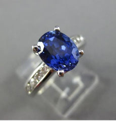 ESTATE 3.38CT DIAMOND & TANZANITE 14KT WHITE GOLD 3D OVAL ENGAGEMENT RING #25510