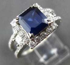 ESTATE 2.69CT DIAMOND & AAA SAPPHIRE 18KT WHITE GOLD HALO SQUARE ENGAGEMENT RING
