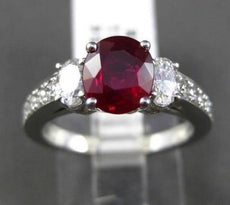 ESTATE 2.17CT DIAMOND & EXTRA FACET RUBY 18KT WHITE GOLD 3 STONE ENGAGEMENT RING