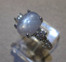 ESTATE 4.33CT DIAMOND & AAA STAR SAPPHIRE 14KT WHITE GOLD ENGAGEMENT RING #24123