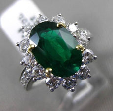 ESTATE 3.47CT DIAMOND & EMERALD PLATINUM 18K YELLOW GOLD ENGAGEMENT RING E/F VVS