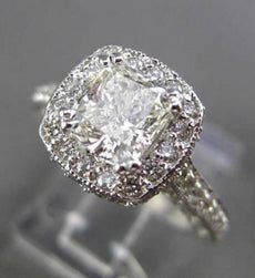 ESTATE 2.81CT EGL DIAMOND 14K WHITE GOLD 3D FILIGREE HALO ENGAGEMENT RING #22391