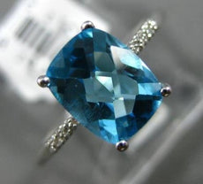 ESTATE 2.43CT DIAMOND & AAA CUSHION BLUE TOPAZ 14K WHITE GOLD 3D ENGAGEMENT RING