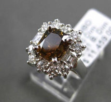ESTATE 2.91CT WHITE & CHOCOLATE FANCY DIAMOND 18KT WHITE GOLD 3D ENGAGEMENT RING