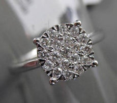 ESTATE .34CT DIAMOND 18KT WHITE GOLD CLUSTER PROMISE FRIENDSHIP ENGAGEMENT RING