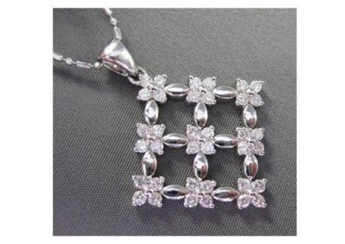 ANTIQUE LARGE .72CT DIAMOND 14KT WHITE GOLD SQUARE FLOWER PENDANT & CHAIN #724