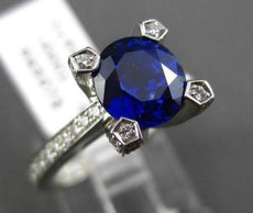 ESTATE 2.95CT DIAMOND & AAA SAPPHIRE PLATINUM 3D DIAMOND PRONG ENGAGEMENT RING