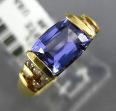 ESTATE 2.98CT DIAMOND & EXTRA FACET TANZANITE 18K YELLOW GOLD 3D ENGAGEMENT RING