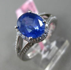 ESTATE 2.97CT DIAMOND & AAA SAPPHIRE 18K WHITE GOLD 3D OVAL HALO ENGAGEMENT RING