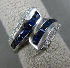 ESTATE 1.88CT ROUND DIAMOND & AAA SAPPHIRE 14KT WHITE GOLD 3D CRISS CROSS RING