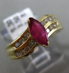ESTATE .80CT DIAMOND & AAA RUBY 14K YELLOW GOLD 3D MARQUISE WAVE ENGAGEMENT RING