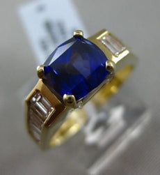 ESTATE 2.95CT DIAMOND & TANZANITE 14K YELLOW GOLD 3D CUSHION CUT ENGAGEMENT RING