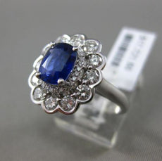 ESTATE 2.54CT DIAMOND & SAPPHIRE 18KT WHITE GOLD 3D OVAL CLASSIC ENGAGEMENT RING