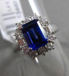 ESTATE 2.69CT DIAMOND & EMERALD CUT TANZANITE 14KT WHITE GOLD 3D ENGAGEMENT RING