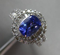 ESTATE 2.11CT DIAMOND & TANZANITE 14KT WHITE GOLD OVAL FILIGREE ENGAGEMENT RING