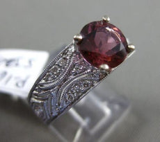 ESTATE 2.38CT DIAMOND & AAA TOURMALINE 14KT WHITE GOLD FILIGREE ENGAGEMENT RING