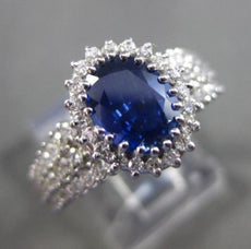 ESTATE 2.53CT DIAMOND & SAPPHIRE 18KT WHITE GOLD 3D HALO ENGAGEMENT RING #24680