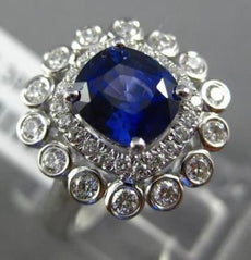 ESTATE 2.48CT DIAMOND & SAPPHIRE 18KT WHITE GOLD 3D DOUBLE HALO ENGAGEMENT RING