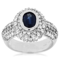 ESTATE 2.50CT DIAMOND & SAPPHIRE 14K WHITE GOLD OVAL DOUBLE HALO ENGAGEMENT RING
