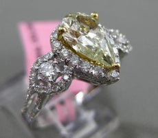 ESTATE 2.21CT WHITE & FANCY YELLOW DIAMOND 18KT GOLD 3D PEAR SHAPE 3 STONE RING