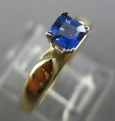 ESTATE .40CT AAA SAPPHIRE 14KT WHITE GOLD 3D SQUARE SOLITAIRE ENGAGEMENT RING