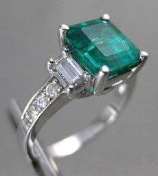 ESTATE 3.02CT DIAMOND & COLOMBIAN EMERALD 14KT WHITE GOLD ENGAGEMENT RING #17314