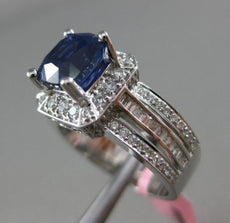 ESTATE 3.42CT DIAMOND & SAPPHIRE 18KT WHITE GOLD SQUARE FILIGREE ENGAGEMENT RING