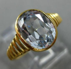 ESTATE 2.50CT AAA AQUAMARINE 18KT YELLOW GOLD 3D OVAL SOLITAIRE ENGAGEMENT RING