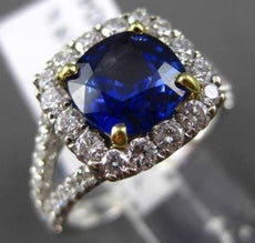 ESTATE 3.27CT DIAMOND & AAA SAPPHIRE 18KT WHITE GOLD SQUARE HALO ENGAGEMENT RING