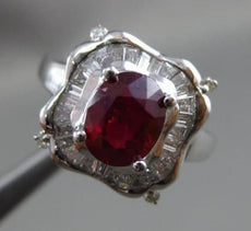 ESTATE 2.84CT DIAMOND & RUBY 18KT WHITE GOLD 3D FILIGREE SQUARE ENGAGEMENT RING