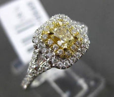 ESTATE .78CT WHITE & FANCY YELLOW DIAMOND 18K 2TONE GOLD FILIGREE ENGAGMENT RING