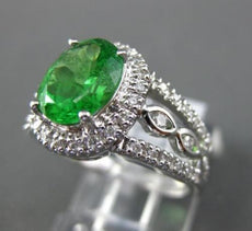 ESTATE 2.5CT DIAMOND & AAA TSAVORITE 18KT WHITE GOLD 3D FILIGREE ENGAGEMENT RING