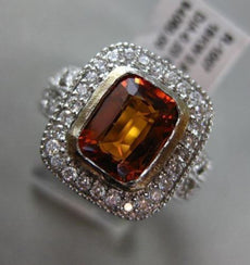 ESTATE 2.71CT DIAMOND & CITRINE 18KT WHITE GOLD 3D SQUARE BEZEL ENGAGEMENT RING