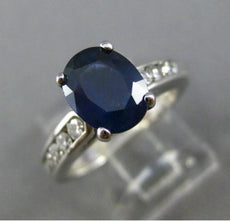 ESTATE 2.56CT DIAMOND & KASHMIR SAPPHIRE 14K WHITE GOLD 3D ENGAGEMENT RING 23797