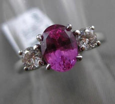ESTATE 2.22CT DIAMOND & AAA PINK SAPPHIRE 18K WHITE GOLD 3 STONE ENGAGEMENT RING