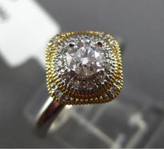 ESTATE .33CT DIAMOND 14K 2 TONE GOLD 3D SQUARE MILGRAIN ROTATING ENGAGEMENT RING