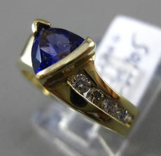 ESTATE 2.98CT DIAMOND & AMETHYST 14KT YELLOW GOLD 3D TRILLION ENGAGEMENT RING