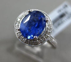 ESTATE 3CT DIAMOND & SAPPHIRE 18KT WHITE GOLD OVAL HALO MILGRAIN ENGAGEMENT RING