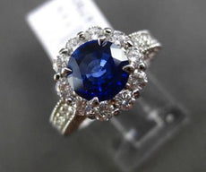 ESTATE 2.81CT DIAMOND & SAPPHIRE 14K WHITE GOLD 3D FILIGREE HALO ENGAGEMENT RING