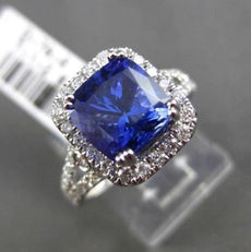 ESTATE 3.55CT DIAMOND & TANZANITE 18KT WHITE GOLD 3D SQUARE HALO ENGAGEMENT RING