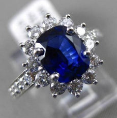 ESTATE 2.41CT DIAMOND & AAA SAPPHIRE PLATINUM DIANA ENGAGEMENT RING E/F VS/VVS