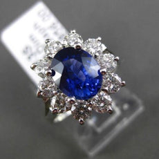 ESTATE 3.13CT DIAMOND & SAPPHIRE 18KT WHITE GOLD 3D OVAL HALO ENGAGEMENT RING