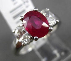 ESTATE 2.16CT DIAMOND & RUBY 18K WHITE GOLD 3 STONE OVAL CLASSIC ENGAGEMENT RING