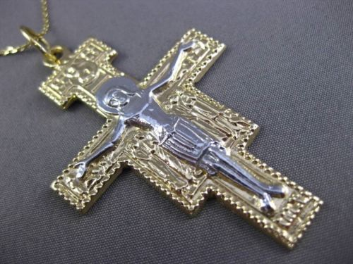 ANTIQUE MASSIVE 14KT WHITE & YELLOW GOLD HANDCRAFTED ITALIAN CROSS PENDANT 23719