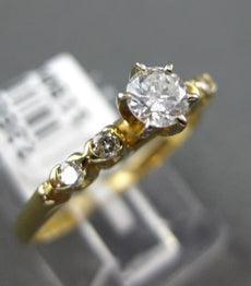 ESTATE .35CT DIAMOND 14KT YELLOW GOLD 3D CLASSIC 5 STONE 6 PRONG ENGAGEMENT RING
